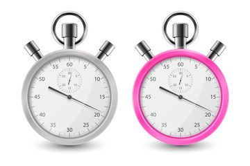 Realistic Gray and Pink Classic Stopwatch Icon Set Closeup Isolated on White Background. Stop-watch Design Template. Sport Timer on Competitions. Start, finish, Time Management. Stock Vector