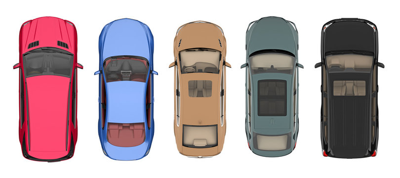 set of cars isolated on white top view