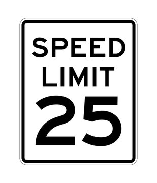 Speed limit 25 road sign in USA