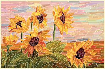 Stained glass window sunflowers in the field. Yellow sunflowers against the pink evening sky. Vector hand drawing full color