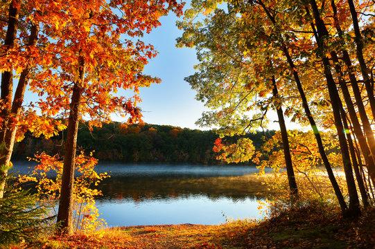 Beautiful Sunrise over a lake with fall foliage in foreground, Boston Massachusetts.