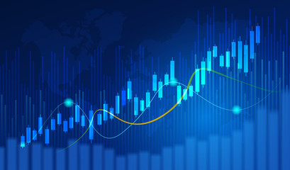 Obraz Business candle stick graph chart of stock market investment trading on blue background. Bullish point, Trend of graph. Eps10 Vector illustration. - fototapety do salonu
