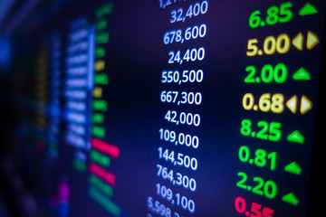 Blue stock exchange market graph on LED screen for business analysis. Finance and economic graphs. Fototapete