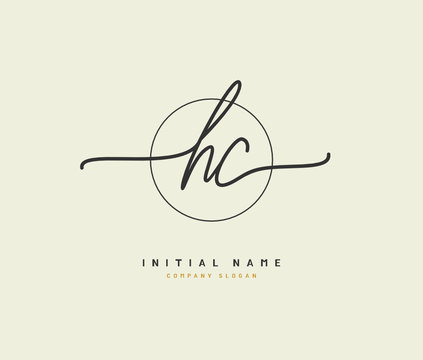 H C HC Beauty vector initial logo, handwriting logo of initial signature, wedding, fashion, jewerly, boutique, floral and botanical with creative template for any company or business.
