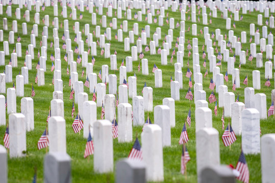 Seemingly endless field of graves, each with a small U.S. flag, on Memorial Day 2018, Arlington National Cemetery, Arlington, VA.
