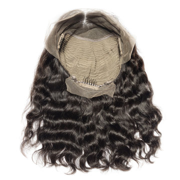 Middle part wavy black human hair weaves extensions lace bob wigs