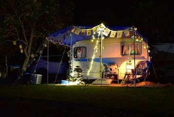 Lilliput caravan unit decorated with christmas lights