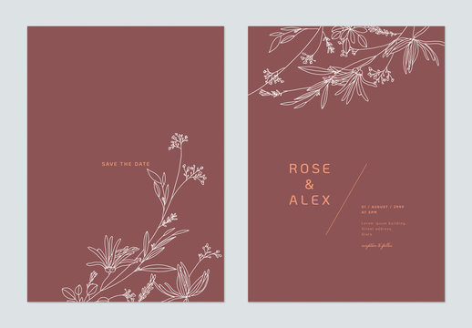 Minimalist wedding invitation card template design, floral white line art ink drawing on dark red
