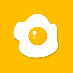 Vector illustration of a fried egg on a yellow background.