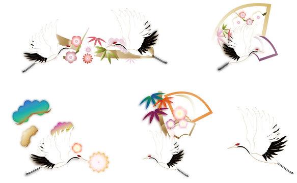 松竹梅と鶴のセットイラスト