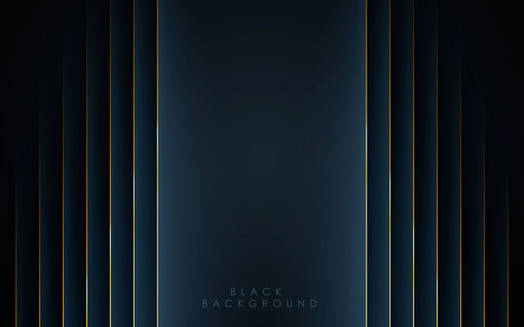 Modern black abstract background concept with gold line decoration