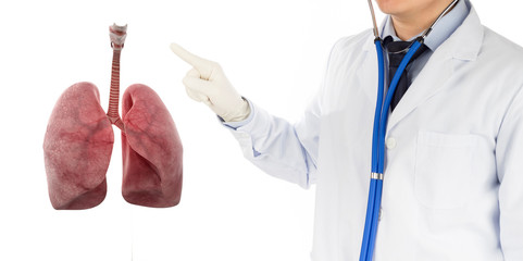 doctor check respiratory of lung , lungs disease , 3D concept