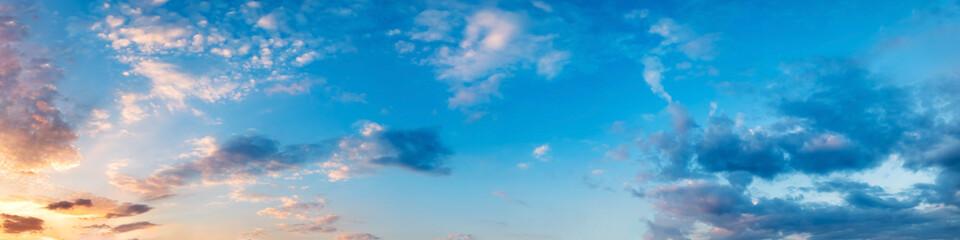 Photo sur Aluminium Bleu jean Panorama of Dramatic vibrant color with beautiful cloud of sunrise and sunset. Panoramic image.