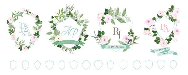 wedding logo for wedding invitation cards, RSVP card, Menu and Wedding online cards, wedding  frame and ribbon design vector