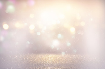 Fototapete - abstract background of glitter vintage lights . silver, gold and white. de-focused