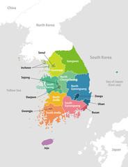 South korea administrative divisions map / English