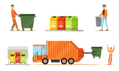 Workers and garbage collection equipment. Set of vector illustrations.