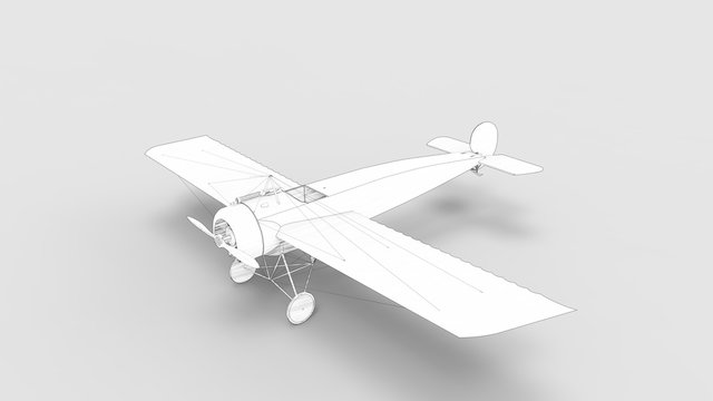 3d rendering of a world war one airplane isolated in studio