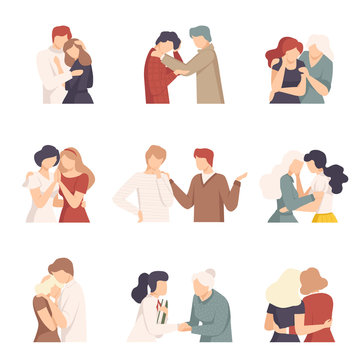 People Supporting Each Other with Words and Standing by Side Vector Illustrations Set