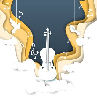 Vector layered paper cut style music background
