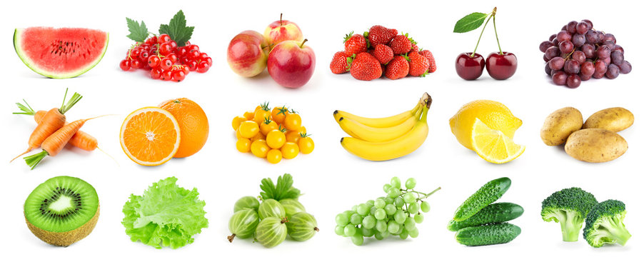 Collection of color fruits and vegetables on white