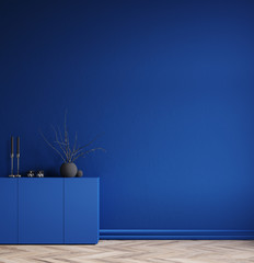 Minimal decorated dark deep blue room with chest of drawers and vase with branch, 3d render