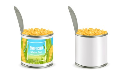 Canned corn package mockup set, vector realistic illustration Fototapete