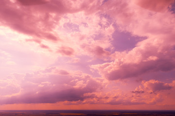 Poster Candy pink Colorful cloudy sky at sunset Sky texture, abstract nature background