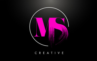 Pink MS Brush Stroke Letter Logo Design. Pink Paint Logo Leters Icon.