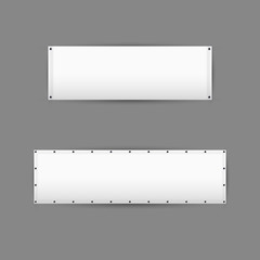 Empty white vinyl banners with grommets. Vector illustration