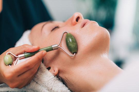 Guasha Face Lymph Drain Massage with Jade Stone Roller