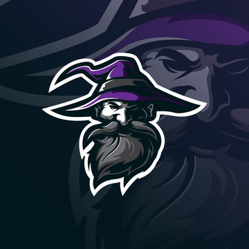 wizard mascot logo design vector with modern illustration concept style for badge, emblem and tshirt printing. wizard head illustration.