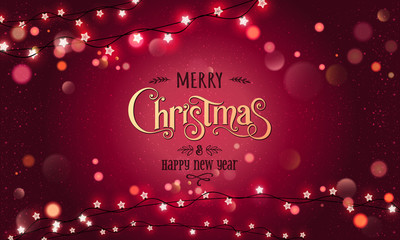 Fototapete - Gold Merry Christmas Text on red glitter background with Xmas decorations glowing garlands, light, stars, bokeh. Merry Christmas card. Vector Illustration, realistic vector
