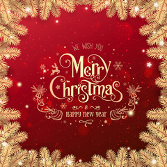Gold Christmas and New Year Text on red Xmas background with gold fir branches, light, stars, bokeh. Merry Christmas and Xmas card. Happy New Year, top view, realistic vector