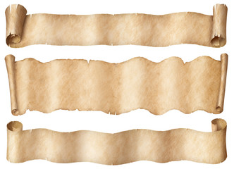 Wall Mural - Wide parchment scrolls or old paper banners set isolated on white