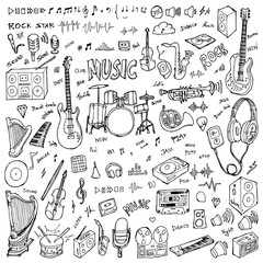 Set of Music Drawing illustration Hand drawn doodle Sketch line vector eps10