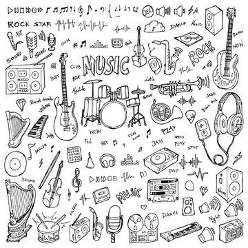 Set of Music Drawing illustration Hand drawn doodle Sketch line vector eps10
