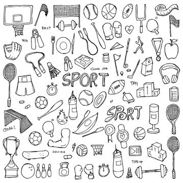 Set of Sport Drawing illustration Hand drawn doodle Sketch line vector eps10