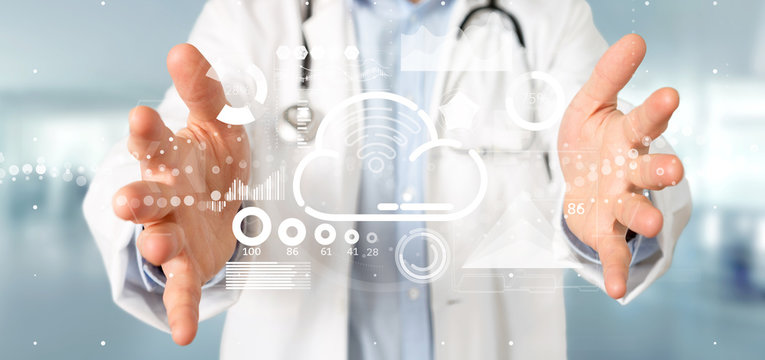Doctor holding Cloud and wifi concept with icon, stats and data 3d rendering