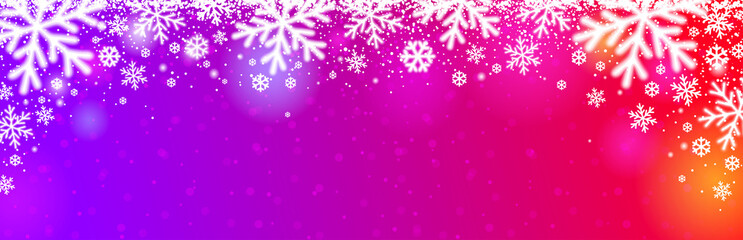 Wall Mural - Bright red purple Christmas banner with white blurred snowflakes. Merry Christmas and Happy New Year greeting banner. Horizontal new year background, headers, posters, cards, website. illustration
