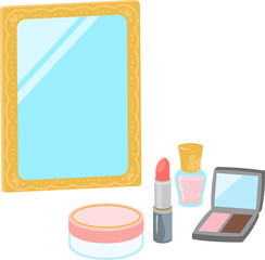 化粧品と立て鏡