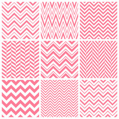 Vector set of pink chevron seamless patterns