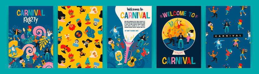Hello Carnival. Vector set of illustrations for carnival concept and other use. Papier Peint