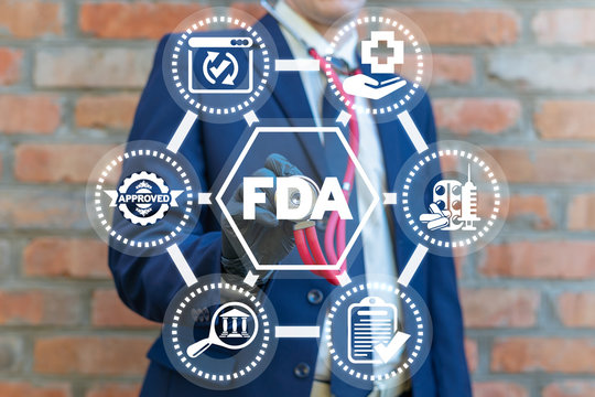 FDA Food and Drug Administration. Certified Control Department Nutrition Drugs Concept.