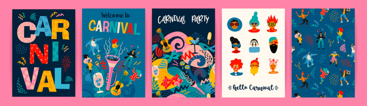 Hello Carnival. Vector set of illustrations for carnival concept and other use.
