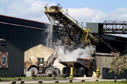 Granulated slag in blast furnace plant used to make high quality concrete.