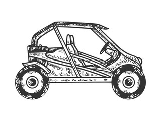 Buggy sport car sketch engraving vector illustration. T-shirt apparel print design. Scratch board imitation. Black and white hand drawn image.