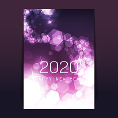 New Year Flyer, Card or Cover Design with Blurry Frozen Ice Crystals Pattern - 2020