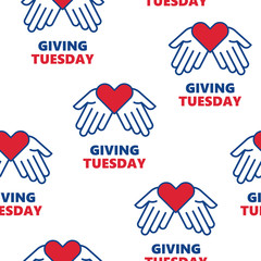 Giving Tuesday. Helping hand with heart shape