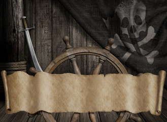 Pirates ship deck with jolly roger flag and old paper scroll or map banner 3d illustration